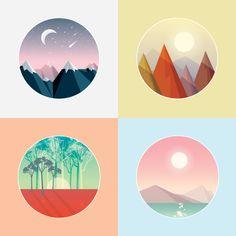 https://www.vectorstock.com/royalty-free-vector/set-of-smooth-polygonal-landscape-designs-vector-5244627