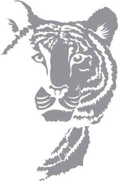 Glass etching stencil of Tiger. In category: Wildcats Stencil Art, Stencil Designs, Tiger Stencil, Stenciling, Glass Etching Stencils, Etched Glassware, Glass Engraving, Free Stencils, Animal Silhouette