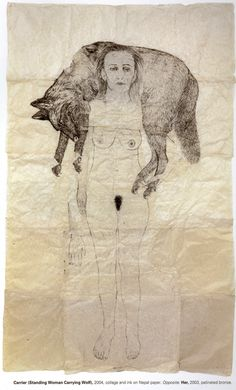 Kiki Smith -  Carrier (Standing Woman Carrying Wolf) 2004.  Collage and ink on Nepal paper.