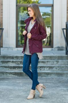 """""""Exciting Expeditions Jacket, Burgundy""""This burgundy jacket is show stopper! You are going to get so many compliments on it! We love the dark gunmetal gray hardware and the way this jacket cinches at the waist!  #newarrivals #shopthemint"""