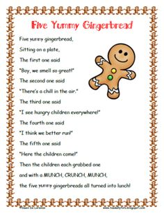 Five Yummy Gingerbread Poem & Roll and Graph from Toadally Tots on TeachersNotebook.com (6 pages) - Five Yummy Gingerbread poem and a Roll and Graph activity! Props are also included for retelling :)