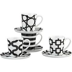 Set of 4 Graphic Espresso Cups and Saucers in Dining & Entertaining | Crate and Barrel