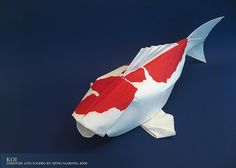 prettier origami koi than the other one; http://www.flickr.com/photos/sipmab/2453283799/ is a video showing how to make it