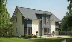 Evolution 148 V5 - Bien Zenker - http://www.hausbaudirekt.de/haus/evolution-148-v5/ - Fertighaus als Einfamilienhaus Modernes Haus Stadthaus mit Satteldach