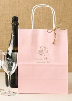 Give guests something to remember with these personalized gift bags! Each customized bag is decorated with your message, color, and design of your choice. Perfect to send your guests home with favors from your wedding, birthday, or shower.