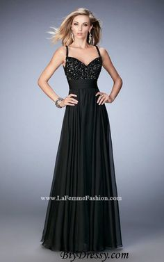 Black La Femme 22433 Straps A Line Beaded 2016 Prom Dresses