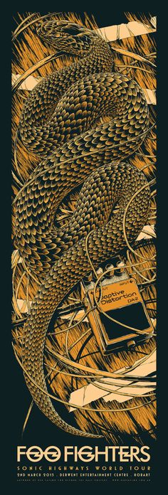 Foo Fighters Australia Tour Posters by Ken Taylor Omg Posters, Band Posters, Music Posters, Mc Bess, Foo Fighters Poster, Ken Taylor, Snake Art, Poster Prints, Art Prints