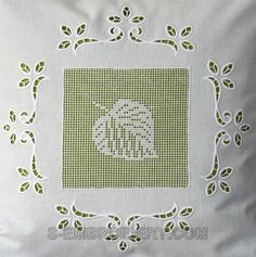 Autumn leaf crochet square and cutwork lace embroidery