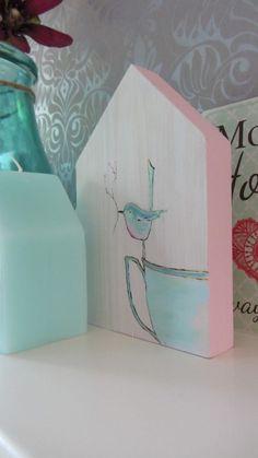 van alles - Een zomers schilderijtje op een houten huis. Leuk om ergens bij te zetten ter decoratie. Handgemaakt en beschilderd naar eigen ontwerp.