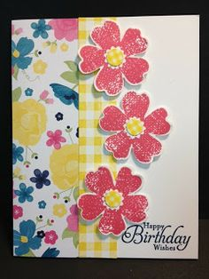 Flower Shop and Washi Tape Birthday Card Stampin' Up Rubber Stamping Handmade Cards