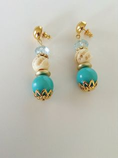 Statement Earring /Carved bone faceted turquoise and by Persicalia, $22.99