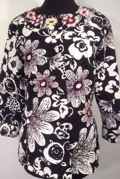 Chico's Womens 1.5 or 8 Blazer Blk White Floral Embellished Tailored Cuffs Lined #Chicos #Blazer