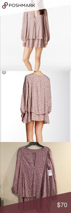 Free People Beck Printed Cutout Mini Dress!! A large keyhole accents the neckline of a printed popover mini, Outfitted with elastic cuffs. -crew neck, long sleeves, elastic cuffs, 100% rayon- this style fits true to size. Free People Dresses Mini