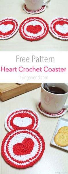 [Free Crochet Pattern] Perfect for Valentine's Day gift! Put a little love on the table and to the drink. Heart Crochet Coaster by Tying An End