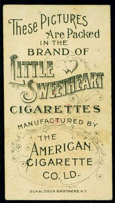 Cigarette Card Back - Little Sweetheart Cigarettes