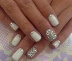 White and Crystal Bling | Most Pinned Diamond Nails On Pinterest