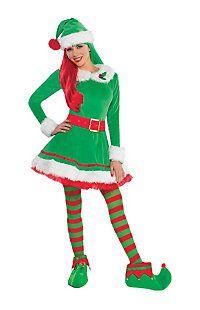 ADULT ELF COSTUME LADIES MENS CHRISTMAS FANCY DRESS ELVES XMAS SANTA/'S HELPER