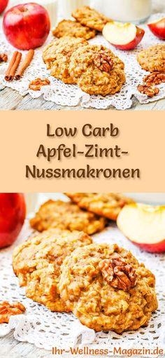 Low-Carb-Weihnachtsgebäck-Rezept für Apfel-Zimt-Nussmakronen: Kohlenhydratarme, kalorienreduzierte Weihnachtskekse - ohne Getreidemehl und Zucker gebacken ... #lowcarb #backen #weihnachten