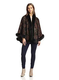 Sofia Cashmere Women's Fox Fur Trim Cashmere Petite U Cape, Black Paisley