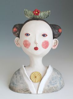 DoGoo - Contemporary Clay Idols: Girl with ceramic floral wreath