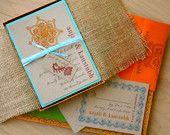 "Wedding Invitations, Boxed Burlap Wedding Invitations - ""Henna Love Box Invite"" Sample - NEW LOWER PRICE!"