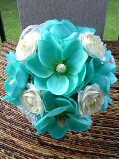 Wedding bride bridemaids bouquet - teal and ivory bouquet - please comment on this if you know what types of flowers are here!