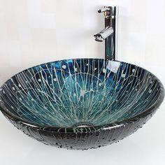 Waschbecken rund glas  Glas Waschbecken Set Rund mit Wasserfall Wasserhahn Mediterran ...