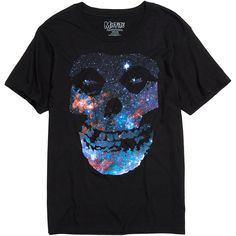 Misfits Galaxy Fiend Skull T-Shirt Hot Topic ($17) ❤ liked on Polyvore featuring tops, t-shirts, cotton tee, galaxy tee, galaxy print top, skull tee and skull t shirt