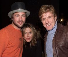 Robert Redford posed with Brad Pitt and Jennifer Aniston before the premiere of The Good Girl at Sundance in 2002.
