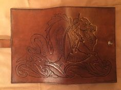 Hand tooled brown journal with Dragon by EchoesOfTimeLeather