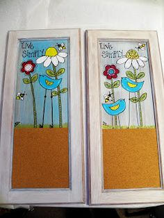 painting on old cabinet doors, making a corkboard out of it too.for our art room to display masterpieces! Repurposed Furniture, Kids Furniture, Painted Furniture, Crafts To Make, Fun Crafts, Bird Crafts, Art Classroom Decor, Old Cabinet Doors, Door Crafts