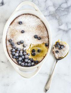 Meyer Lemon Pudding With Blueberries #recipe #dessert