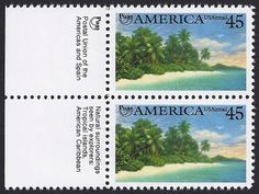 Puas: Postal Union of the Americas and Spain. Natural surroundings seen by explorers: Tropical islands, American Caribbean. Christopher Columbus, American History, Islands, Caribbean, Stamps, Spain, Coast, Tropical, United States