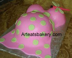 Baby Bump Pink And Green Custom Unique Fondant Shower Design With  cakepins.com