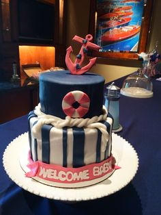 Anchors Aweigh #babyshower #welcomebaby #cakeonsunday #nauticalcake #nauticaltheme #customcake #cake #navyandpink #anchor #hearts