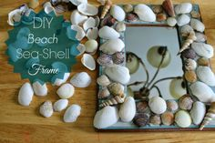 Outnumbered 3 to 1: DIY Beach Sea-Shell Frame Craft Projects For Adults, Diy Craft Projects, Crafts For Kids, Craft Ideas, Decor Ideas, Seashell Frame, Seashell Crafts, Beach Souvenirs, Travel Souvenirs