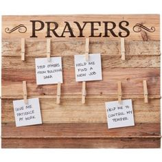Keep your prayers top of mind with this rustic prayer board. Made up of wood slats and featuring three rows of twine stretched across the board, the word Prayers is printed in large letters. Use the included clothespin clips to attach your prayer Prayer Wall, Prayer Room, Prayer Board, Prayer Signs, Prayer Closet, Christian Decor, Christian Crafts, Christian Life, Memo Boards