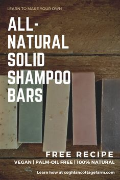 FREE RECIPE All natural Vegan, Palm-Free Solid Shampoo Bars. Learn to make Solid Shampoo at home and ditch the plastic bottle. Diy Shampoo, Homemade Shampoo, Solid Shampoo, Shampoo Bar, Homemade Conditioner, Homemade Hair, Natural Shampoo, Homemade Beauty, Eco Beauty