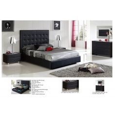 622 Penelope Bedroom Set In Black By Esf