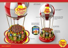 Designs developed for Perfetti Van Melle owners of the Chupa Chups brand. Shop Display Stands, Pop Display, Display Design, Booth Design, Banner Design, Pos Design, Stand Design, Retail Design, Coffee Machine Design