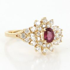 Vintage 14 Karat yellow Gold Diamond Natural Ruby Cocktail Ring Fine Jewelry