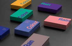 Nicolas Fuhr designed the identity of Colour Rain. At Colour Rain we specialize in designing and producing fine poster art and it is our mission to help you reclaim your living room! With our collection of original limited edition prints of Graphic Design Branding And Packaging, Business Branding, Business Card Design, Packaging Design, Letterpress Business Cards, Brand Identity Design, Corporate Design, Corporate Identity, Identity Branding
