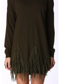 Tassel Me Up Sweater in Olive | Necessary Clothing