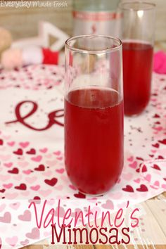 The perfect drink to enjoy on the official love day has to be red! These Valentine's Mimosas are made with pink champagne and pomegranate juice; the perfect combination. | EverydayMadeFresh.com