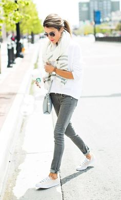 Grey Jeans and a Lightweight Scarf