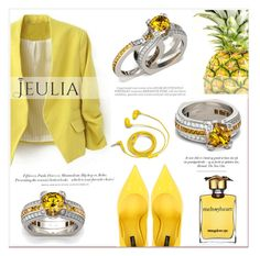 """""""Jeulia Yellow Feeling"""" by lucky-1990 ❤ liked on Polyvore featuring Dolce&Gabbana, H&M, Whiteley, Strangelove NYC, FOSSIL, jewelry and jeulia"""