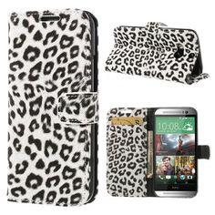 Mesh - HTC One (M8) Hoesje - Wallet Case Luipaard Wit | Shop4Hoesjes