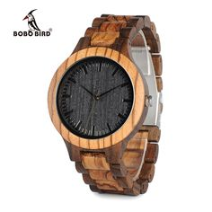 BOBO BIRD Round Vintage Zebra Wood Case Men Watch With Ebony Bamboo Wood Face With Zebra Bamboo Wood Strap Japanese movement - watches-jewelry n Stylish Watches, Casual Watches, Men's Watches, Wrist Watches, Cheap Watches, Wooden Watches For Men, Wood Watch, Vintage Men, Online Shopping