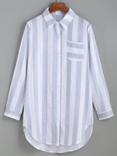 #AdoreWe #ROMWE Blouses - Designer ROMWE Blue Vertical Striped Curved Hem Blouse - AdoreWe.com