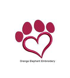 Paw Heart Unique Urban Machine Embroidery Design digital File